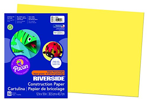 Pacon 103616 Riverside 3D Construction Paper, Yellow, 12