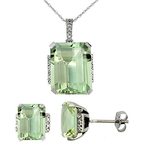 Or blanc 9carats Diamant de boucles d'oreilles et pendentif améthyste naturel octogone Vert Accents