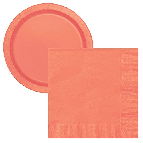 New Simple Solids Party Tableware Plate and Napkin Set Serves 16 (Coral Pink)