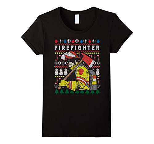 Women's Ugly Christmas Sweater Firefighter T-shirt