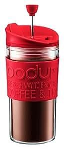 Bodum Travel Press Set - Taza con émbolo y tapa extra, 0,35 l, color rojo
