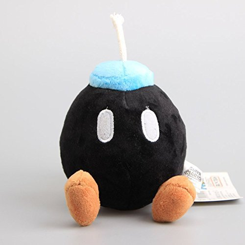 Super Mario Bros Bomb Bob-ombs 5 Inch Toddler Stuffed Plush Kids Toys Black