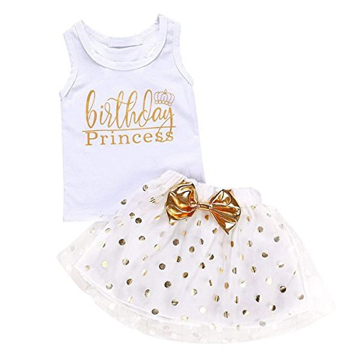 rls Outfits Birthday Princess Vest Sleeveless Top +Mesh Tutu Skirt Set (18 Months, White) ()