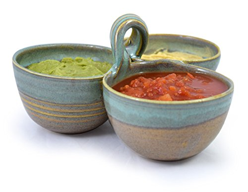 Pottery Sauce (American Made Stoneware Pottery 3-Bowl Condiment/Sauce Serving Dish in Sea Oats Color)