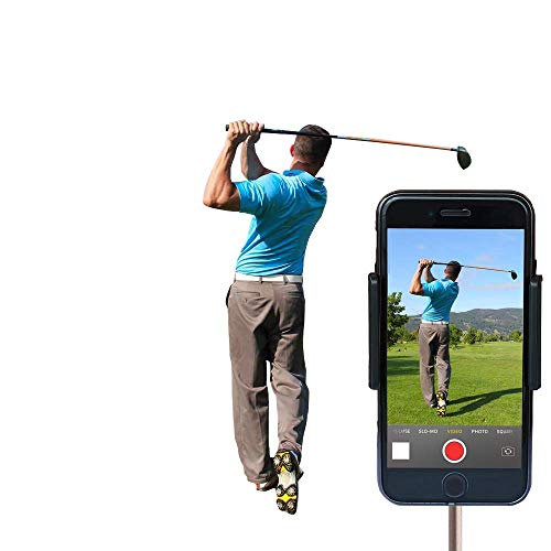 Golf Cell Phone Holder & Record Golf Swing, Training Aid to Video Record Swing, Clips to Golf Alignment Sticks and Golf Club Shaft, Works with Any Smart Phone, Quick Set up