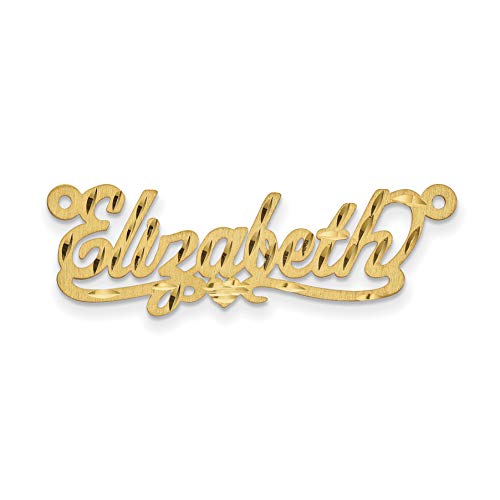 - Brilliant Bijou Satin Diamond-Cut Personalized Nameplate - Medium Size (14K Yellow Gold)