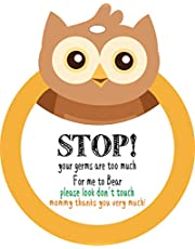 Owl-Stop,Please Look,Don't Touch Baby Sign Tag (Girl Boy Preemie Sign, Newborn, Baby Car Seat Tag, Baby Bed Tag,Stroller Tag, Carrycot Basket Tag,Baby Preemie No Touching Car Seat Sign Tag) W/Hanging Straps