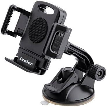 Negro Ajustable Soporte Tel/éfono Coche Universal Car Mount con Ventosa para Parabrisas y Salpicadero 360 Grados Rotaci/ón para M/óviles y m/ás Ancho de 50-100mm iVoler Soporte Movil Coche