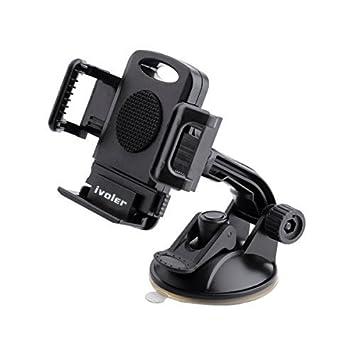 iVoler Soporte Movil Coche, Ajustable Soporte Teléfono Coche Universal Car Mount con Ventosa para Parabrisas y Salpicadero 360 Grados Rotación para Móviles ...