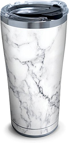 Tervis 1284376 Marble Swirl Stainless Steel Tumbler with Clear and Black Hammer Lid 20oz, Silver