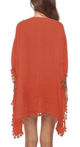 Jaycargogo Des Femmes De Cou Houppe Boheme V Coupe Ample Couverture En Orange