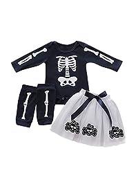 Tianhaik Baby Girls Skeleton Print Halloween Outfits Set Romper + Tutu Skirt + Leg Warmers Clothes Suit