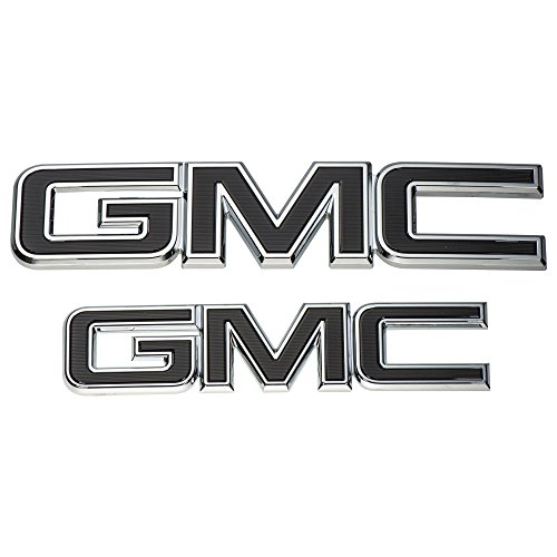 OEM NEW Grille and Tailgate GMC Emblems Black & Chrome 15-18 Sierra 84395038 ()