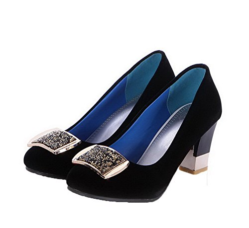 VogueZone009 Women's Kitten-Heels Frosted Studded Pull-on Round-Toe Pumps-Shoes Black YMGz9khFg3