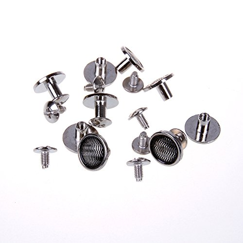 Wavy Round Flat Studs and Spikes Metal ScrewBack For Leathercraft Punk DIY - Silver, 8mm x 12mm, 30 PCS By eART