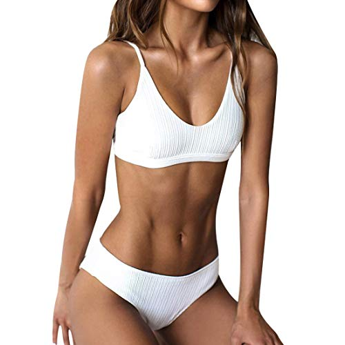 RUUHEE Women Ribbed Bikini Cheeky Bottom v Neck Brazilian Top 2 Piece Bathing Suits
