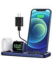CEREECOO Portable 3 in 1 Charging Station for Apple Product Foldable Charger Stand for iWatch 6/SE/5/4/3/2/1 Charging Stand for iPhone AirPods Pro/2/1 Charging Dock Holder(with 10W Adapter)