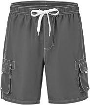 YSENTO Men's Swim Shorts Cargo Shorts 4 Pockets Dry Fit Beach Board Shorts with Mesh L