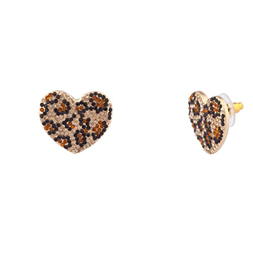 (Lux Accessories Leopard Print Pave Crystal Animal Heart Stud Earrings)