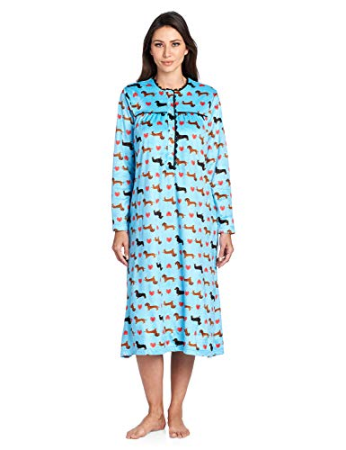 - Ashford & Brooks Women's Mink Fleece Long Sleeve Nightgown - Turquoise Dachshund Dog Love - Small