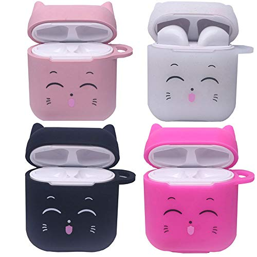 4 Pcs Candy Colors Smiling Cat Airpods Case Cute AirPods Accessories Soft Silicone Anti-Scratch Protective Case With Carabiner - Black +Shimmering Powder White + Light Pink +Rose