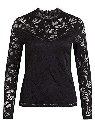 - Vila Clothes T-Shirt Long Sleeve Woman Vistasia Lace Top 14041864 xs Black