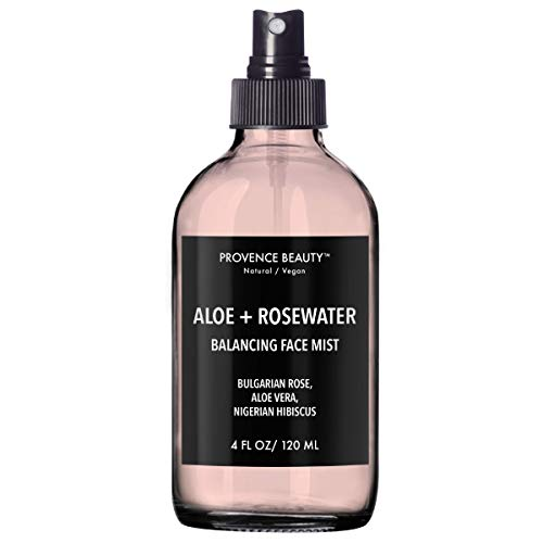 Provence Beauty   Aloe + Rosewater - Balancing, Refreshing & Soothing Facial Mist - Infused with Bulgarian Rose, Aloe Vera, Nigerian Hibiscus - 4FL ()