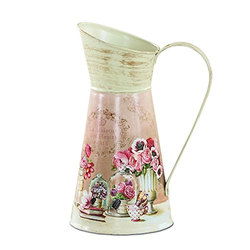 (APSOONSELL Classical Flower Art Metal Pitcher / Vase Vintage Country Home Decoration - Pink)