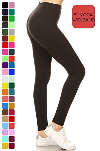 "LY5R128-BLACK 5"" Waistband Black Yoga Solid Leggings, One Size"