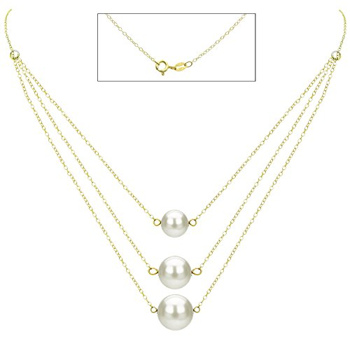 18k Yellow Gold Plated Silver Graduated 8.5-11.5mm White Freshwater Cultured Pearl Chain Necklace, 16.5'' by La Regis Jewelry