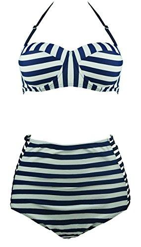 1a02d694e2 Cocoship Blue Stripe Vintage High Waisted Bikini Engraving Swimsuits  Swimwear XL(FBA)