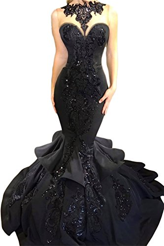 SDRESS Women's Beaded Lace Appliques Scoop Neck Layers Mermaid Formal Prom Dress Black Size 6