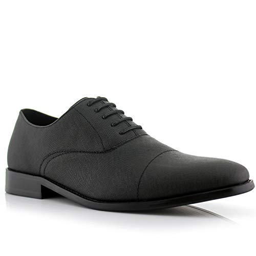Ferro Aldo Garrett MFA19623L Men's Classic Memory Foam Vegan Leather Lace-Up Cap Toe Perforated Oxford Formal Dress Shoes – Black, Size 9