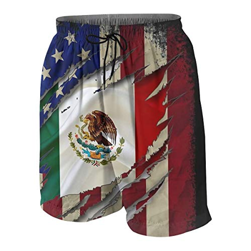 Proud Mexican American Flag Boys Swim Trunks Quick Dry Beachwear Sports Running Swim Board Shorts White