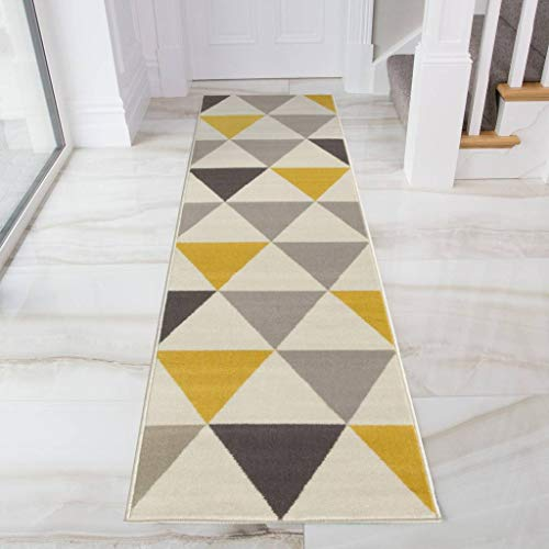 Milan Ochre Mustard Yellow Grey Beige Harlequin Triangles Traditional...