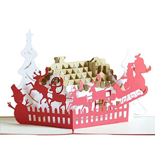 Karoleda♛3D Christmas Greeting Card,Creative Pop Up Christmas Card ☾Christmas snowman, Dinosaur☽ ()