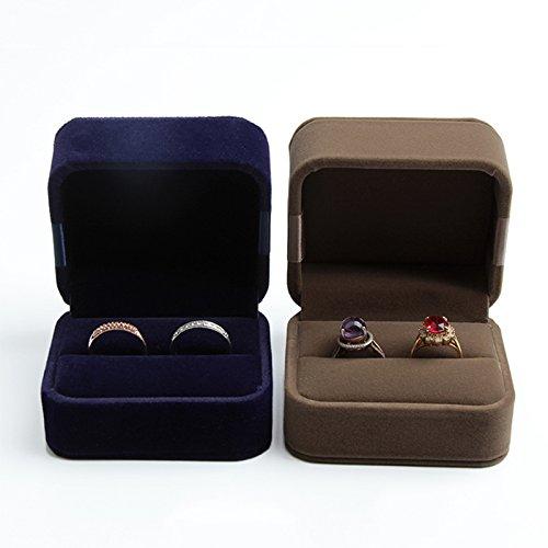 Bleu fonc/é coffret cadeau Bo/îte de rangement Treestar /él/égante pour bagues bo/îte de pr/ésentation /Écrin double pour alliances de mariage bo/îte /à bijoux