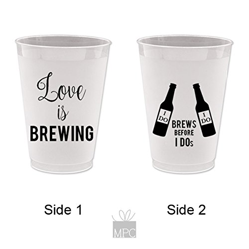 Love is Brewing, Brews before I Dos, Wedding Shower Frost Flex Plastic Cups (10 cups)