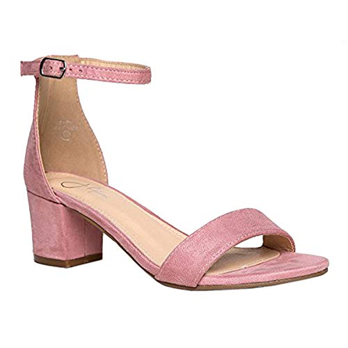 J. Adams Daisy Mid Heel Sandal, Dusty Rose Suede, 6 B(M) US