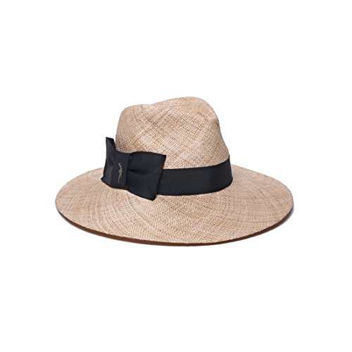 Gottex Women's Marquesa Baku Straw Sun Hat, Rated UPF 40 for Excellent Sun Protection, Natural/Black, One Size by Gottex