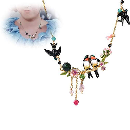 Enameled Choker - WANZIJING Women Choker, Enameled Gold Necklaces Fashionable Beautiful Swallow Necklace for Women's Luxury Party Jewelry