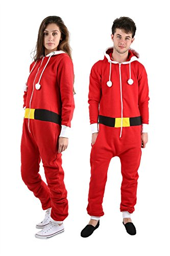 [NEW UNISEX SANTA ELF XMAS ONESIE MENS WOMENS ALL IN ONE NOVELTY CHRISTMAS SUIT-UK 10-Santa Red (50% Polyester 50%] (Elf Outfit For Women)