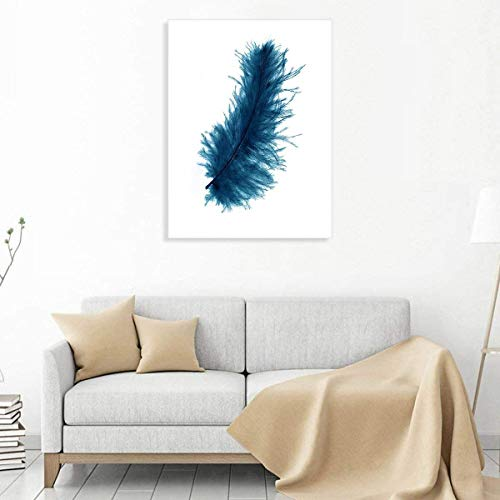Formarkor Canvas Wall Art Blue Feather Modern Fashion Art Canvas Painting Contemporary Artwork Framed Ready to Hang for Home Decoration]()