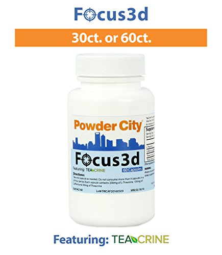 Powder City Focus 3d Energy and Focus Supplement, 60 caps