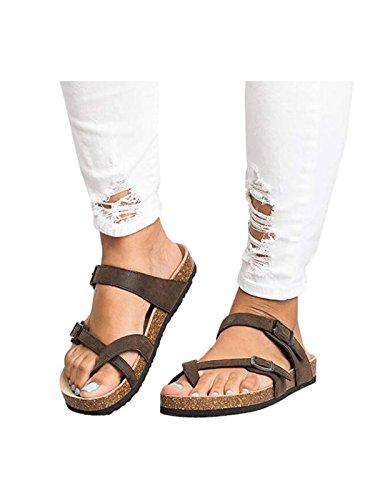 WJL Womens Thong Flat Sandals Gladiator Buckle Strappy Cork Sole Summer Slides -