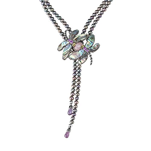 Carolyn Pollack Rhodium Plated Sterling Silver Multi Gemstone and Freshwater Cultured Pearl Dragonfly 2 Strand Beaded Necklace 17 to 20 Inch