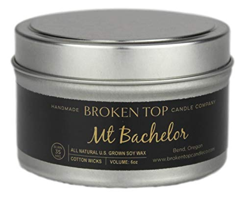 Mt. Bachelor 100% U.S. Grown Soy Wax Highly Scented Candle 6 oz. Metal Travel Tin with Lid
