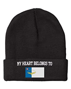 Fastasticdeal Heart Belongs Azores Flag Embroidered Beanie Cap