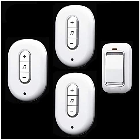 防水ドアベルワイヤレスホームスマートリモート電子リモートコントロールドアベル、1ボタンおよび3レシーバー、ゴールド-Silver