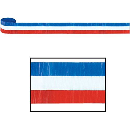 Fr Patriotic Crepe Streamer (Red, White, Blue) Party Accessory (1 Count) (1/pkg) Pkg/3